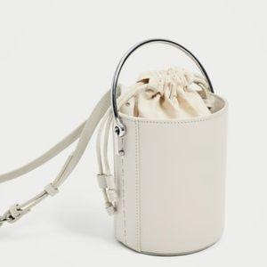 New Zara Cream Bucket Bag